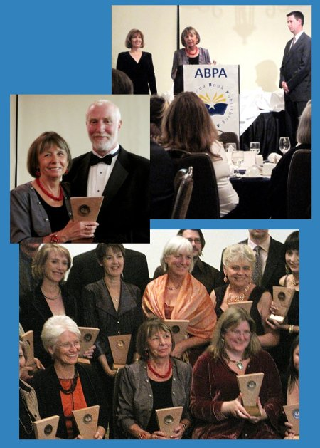 Three photographs of Alicja Mann at ABPA Glyph awards banquet