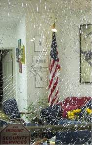 Smashed window at Gabrielle Giffords' office