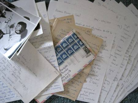 Collage of letters, envelopes and photos