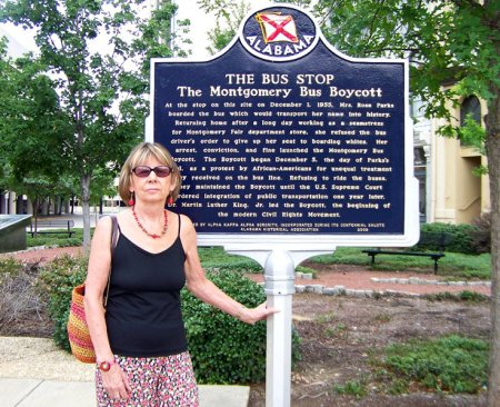 Alicja Mann at famous bus stop in Montgomery, Alabama