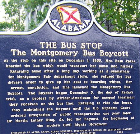 Commemorative sign at famous Montgomery bus stop