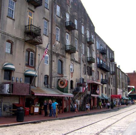 Savannah, Georgia - historic waterfront, looking westward