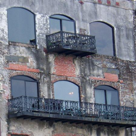 Savannah, Georgia water front building: texture