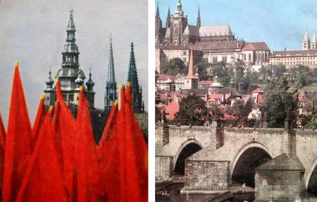 Photos of Prague with communist flags and without