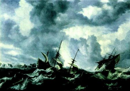 Ship on stormy waters