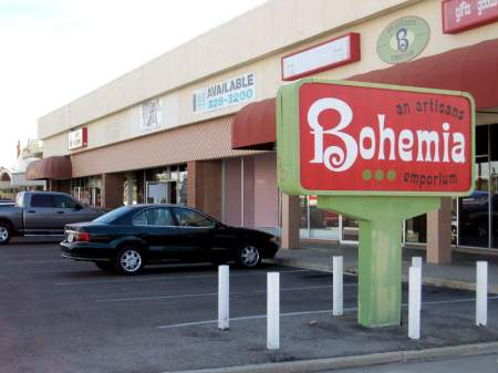 Sign and parking lot in front of Bohemia, Tucson, Arizona