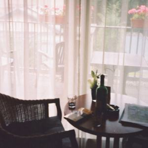 Chair, table, gauzy curtains, pink flowers