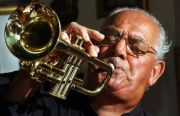 Lou Colombo and his trumpet (Cape Cod Times file photo by Ron Schloerb)