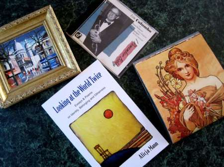 Framed painting, music CD cover, book, another image
