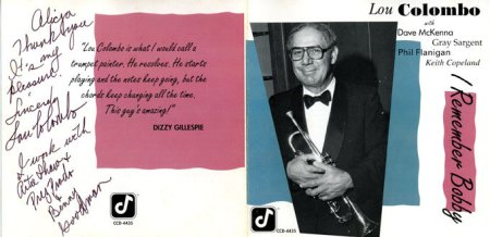 Lou Colombo CD cover with personal notes from musician