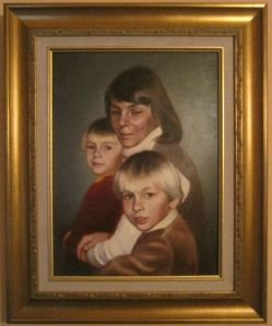 Framed portrait of Alicja Mann and her two sons