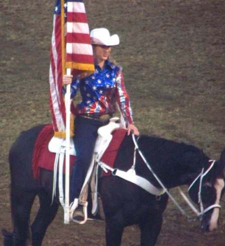 Horseback rider with US flag