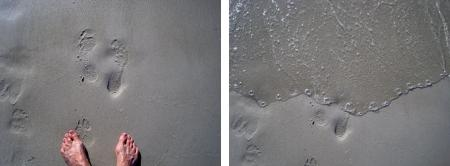 Footprints and water on the beach