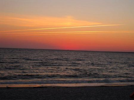 Sun below horizon, Silver Beach, Cape Cod, Massachusetts
