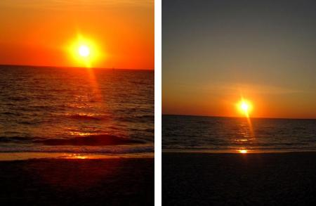 Two views of sunset at Silver Beach, Cape Cod, Massachusetts