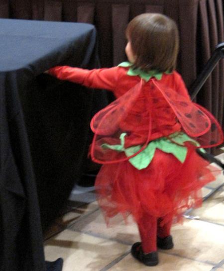 Girl in ladybug costune