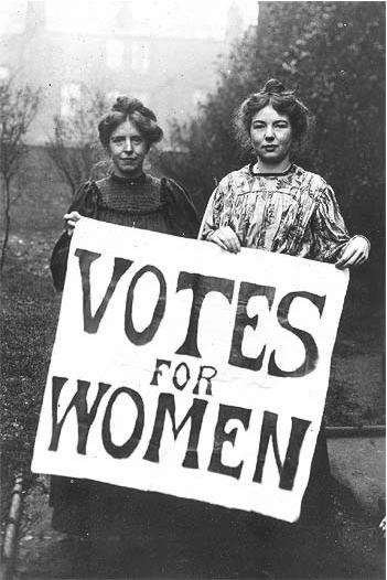 "Two woman holding sign ""Votes for Women"""