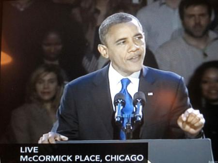 President Obama on television after his re-election