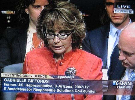 Gabby Giffords making statement in front of the Judiciary Committee