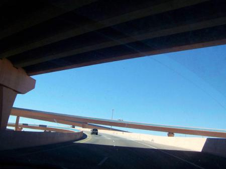 View from the car of  a highway loop