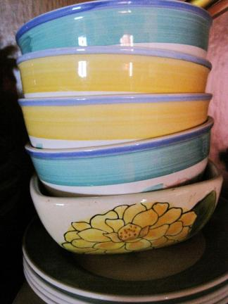 Stack of colorful soup bowls