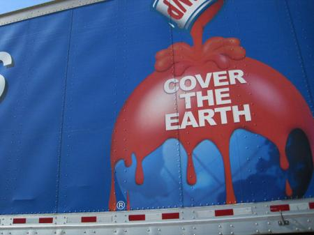 Close up of the SWP truck  with their slogan - Cover the Earth.