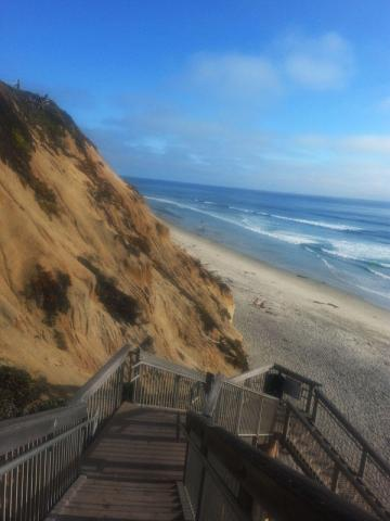 Entry to Solana Beach - long and steep wooden stairs