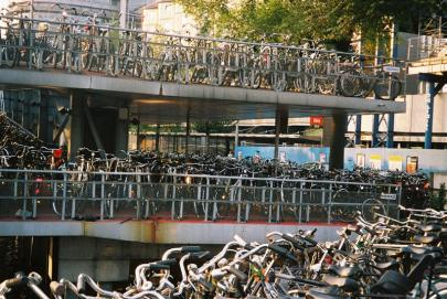 Layers of parked bicycles in special designated multi level place in center of Amsterdam