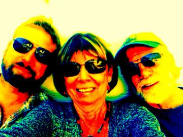 Selfie hoto of three persons - author and two men. Photo altered to be very colorful for Valentine'sDay. h